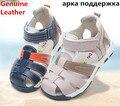 Verano 1 par boy Cuero Genuino Niños Sandalias Ortopédicas, Calidad Estupenda Niños Zapatos de Verano