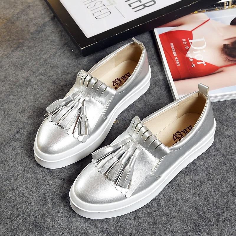 Korean Grey Loafer Shoes tassel Loafer Shoes Size 41 43 Spring Tide golden shoes PU leather
