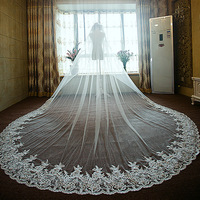 Romantic 3D-Floral Appliques Long 3 M Wedding Veils Hair Accessories Cathedral Train White 3 Meters Bridal Veil With Lace Edge