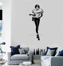 Fashion Girl Room Style Shopping Woman Wall Stickers Artistic Design Wall Decals E-co Friendly Vinyl Wallpaper Poster SA839
