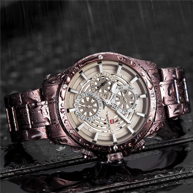 ساعة رجالية من Relogio Masculino NAVIFORCE من أفضل العلامات التجارية الفاخرة ساعة يد رياضية عسكرية مضادة للمياه ساعة رجالية كوارتز كاملة من الفولاذ 9149