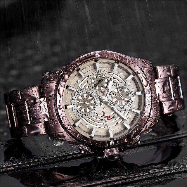 Relogio Masculino Naviforce Mannen Kijken Topmerk Luxe Sport Waterdichte Militaire Horloge Volledige Staal Quartz Mannelijke Klok 9149