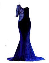 One Sleeve Royal Blue Faux Velvet font b Evening b font Gowns with Beads Mermaid Cutout