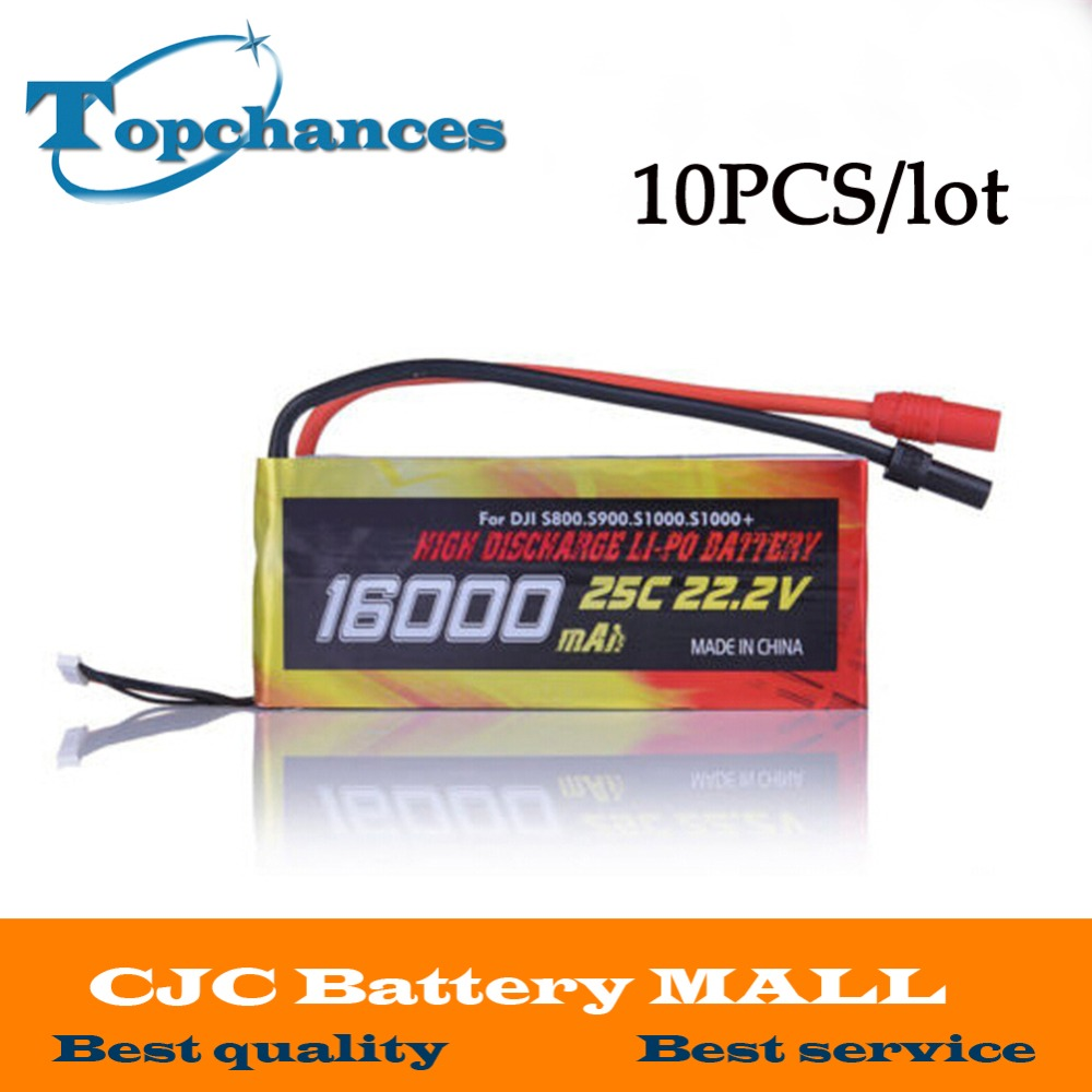 Wholesale 10PCS High Quality 16000mAh 6S1P 22.2V 25C LiPo Battery for Drone DJI S800 S900 S1000 helicopter wholesale ocday 4pcs 3 7v 380mah 25c 1s1p 1 4wh battery