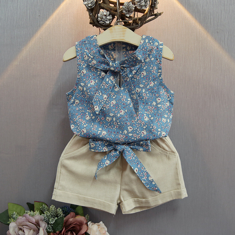 Baby Girl Clothes Set Fashion Floral Girls Summer Set Clothes Suit Baby Kids T Shirt +Pants Children Clothing Set With Bow baby girl clothes set fashion blue jean shirt cotton white lace shorts 2pcs girls clothes kid summer suit set
