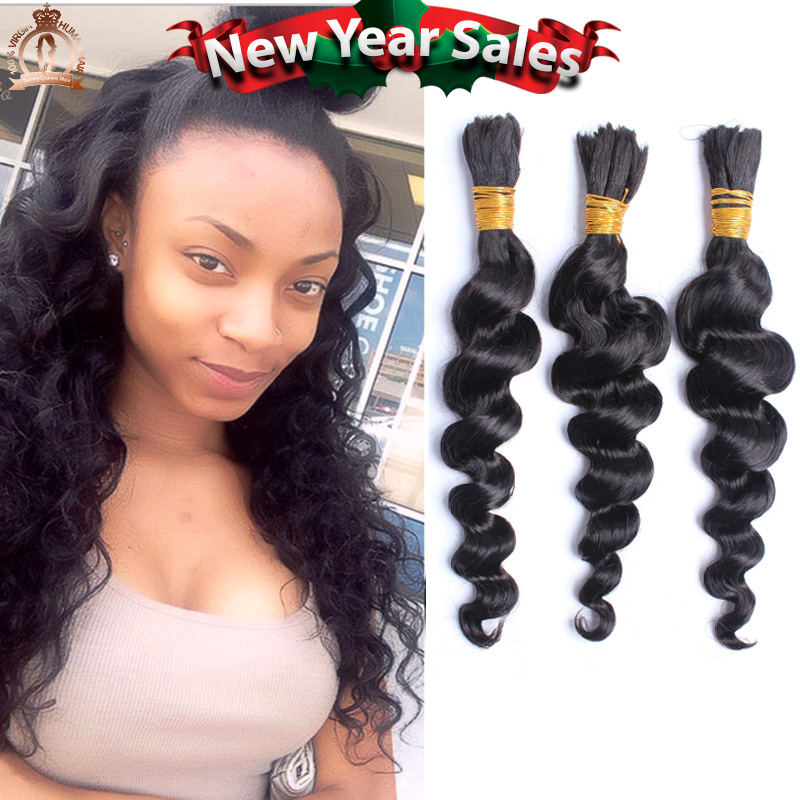 Human Braiding Hair Bulk 6A Malaysian Virgin Hair Braiding Bulk No Attachment Loose Wave Braiding Hair 3Pcs Rosa Hair Products