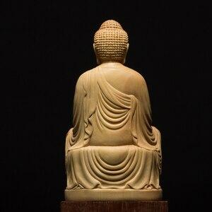 Image 4 - 9.5/13Cm Hout Bouddha Standbeeld Houten Carving Boeddha Buda Estatua Shakyamuni Craft Bodhisattva Sculptuur Voor Home Decor