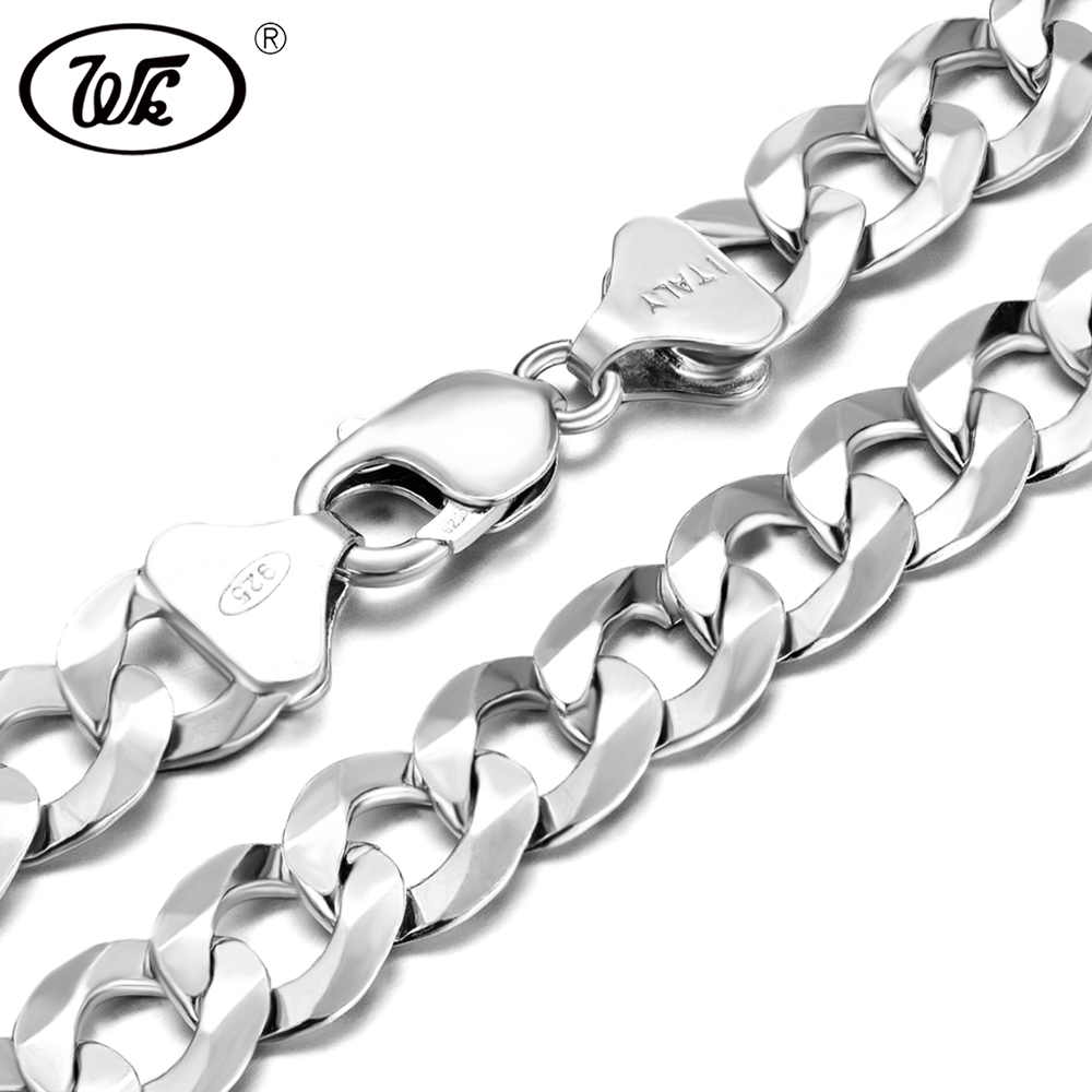 WK Mens Italy Silver Chain 925 4MM 5MM 7MM 9MM 11MM 12MM 20 22 24 26 28 30 Inch Hip Hop Rapper Curb Cuban Chain Men Male NM005