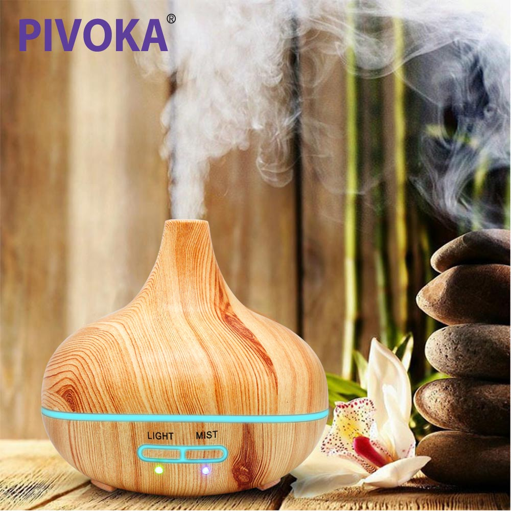 PIVOKA Wood Grain 235 ML Air Humidifier Essential Oil Diffuser Aroma Lamp Aromatherapy Electric Aroma Diffuser 505Y