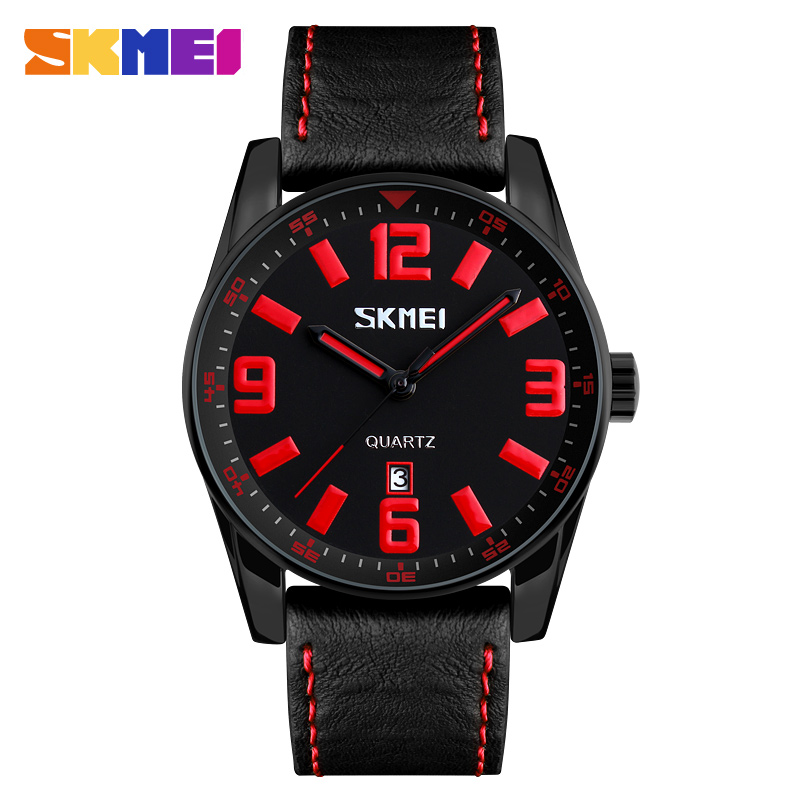 SKMEI 9137 Genuine Leather Quartz Wristwatches Casual Large Dial Men Watch Fashion Sports Waterproof Watches Relogio Masculino splendid shelon wristwatches quartz watches rhinestone women s watches genuine leather upscale large dial free shipping