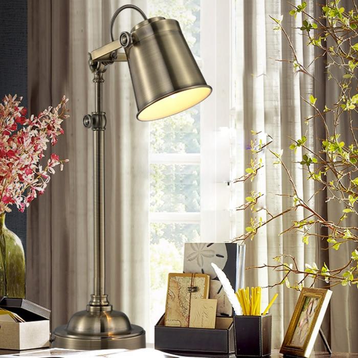 American rural Loft retro industrial iron metal table lamp bedroom bed study desk lamp Abajur Lamparas De Mesa Lampe цена
