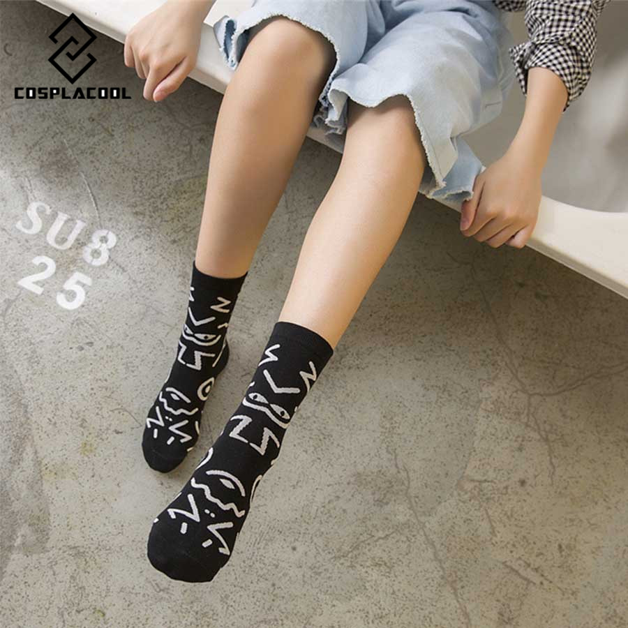 [COSPLACOOL]Japan Whimsy maze paint funny socks women harajuku cotton socks hip hop calcetines mujer warm unisex meias sokken