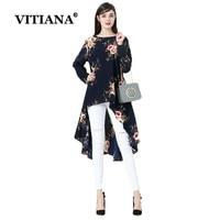 VITIANA Women Beach SDress Plus Size 6XL Spring Long Sleeve Print Party Dresses Black Flowers Female