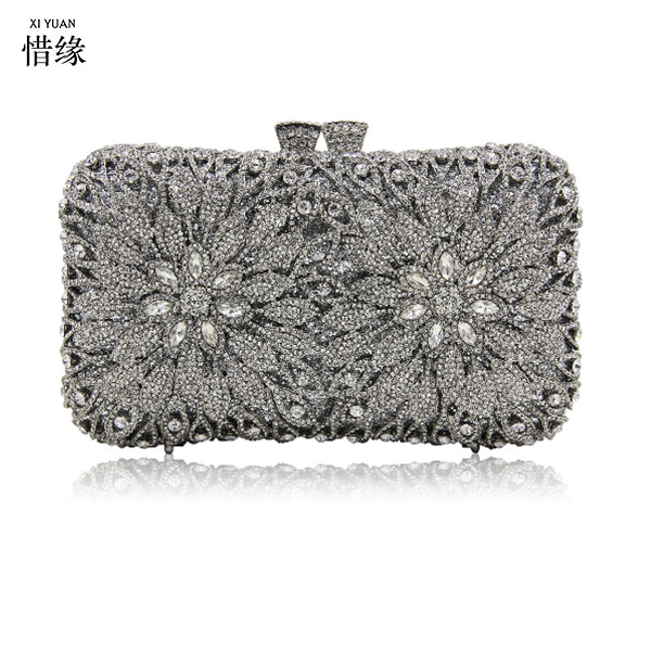 купить XIYUAN BRAND Metal Minaudiere Clutch Silver Evening Crystal Handbags Women Socialite Party Prom Bag Bridal Clutches Wedding bags недорого