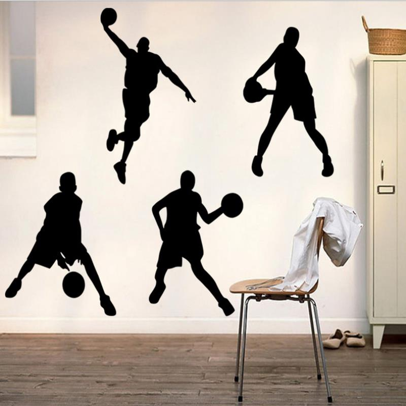Black Basketball Players Slam Wall Sticker Sport Home Decor Dunk Decal for Boys Room Gift Large Vinyl Mural Wallpaper Posters