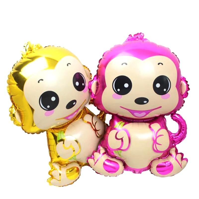 Penghantaran percuma 75cm * 50cm monyet belon aluminium dihiasi parti belon mainan kanak-kanak borong