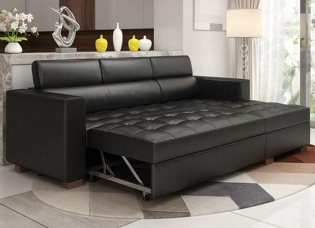 Leather Sofa Bed w/ Storage 2
