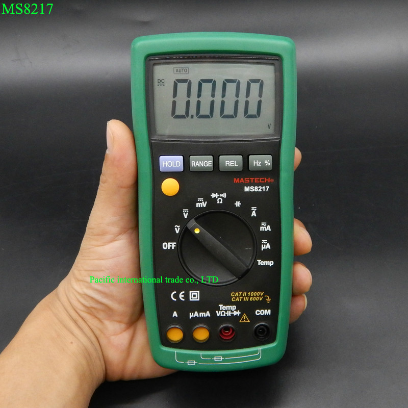 MASTECH MS8217 Digital Multimeter Auto ranging Multitester AC/DC Voltage DMM REL Frequency & Temperature Tester With LCD Display bside adm04 lcd digital multimeter mini pocket 2000 counts dmm dc ac voltage current meter diode tester auto ranging multimetro