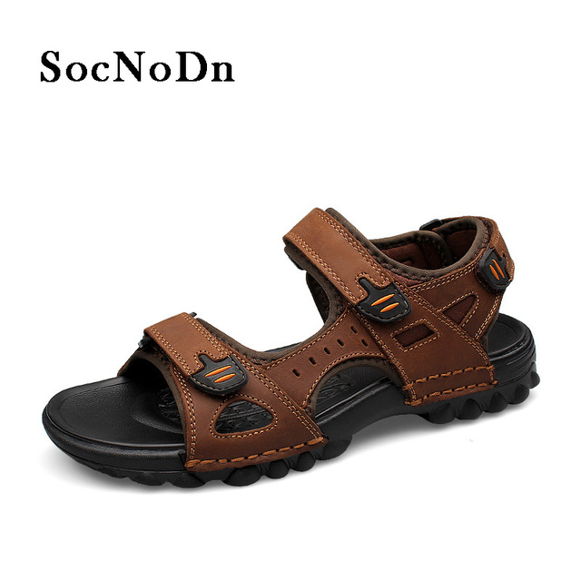 009c39c07a92 SocNoDn Men Sandals Genuine Leather 2018 Man Summer Shoes Breathable  Outdoor Walking Footwear Casual Fisherman Sandals Classic