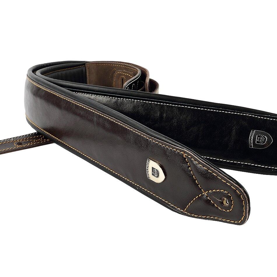 Soldado de alta calidad de cuero genuino de piel de vaca Real correa de guitarra eléctrica guitarra ajustable acolchado cinturón negro marrón Color