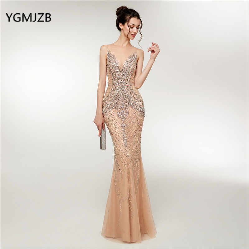122c78d013f6 Luxury Mermaid Evening Dresses Long 2018 New Heavy Crystals Beaded Arabic  Elegant Woman Formal Party Gowns