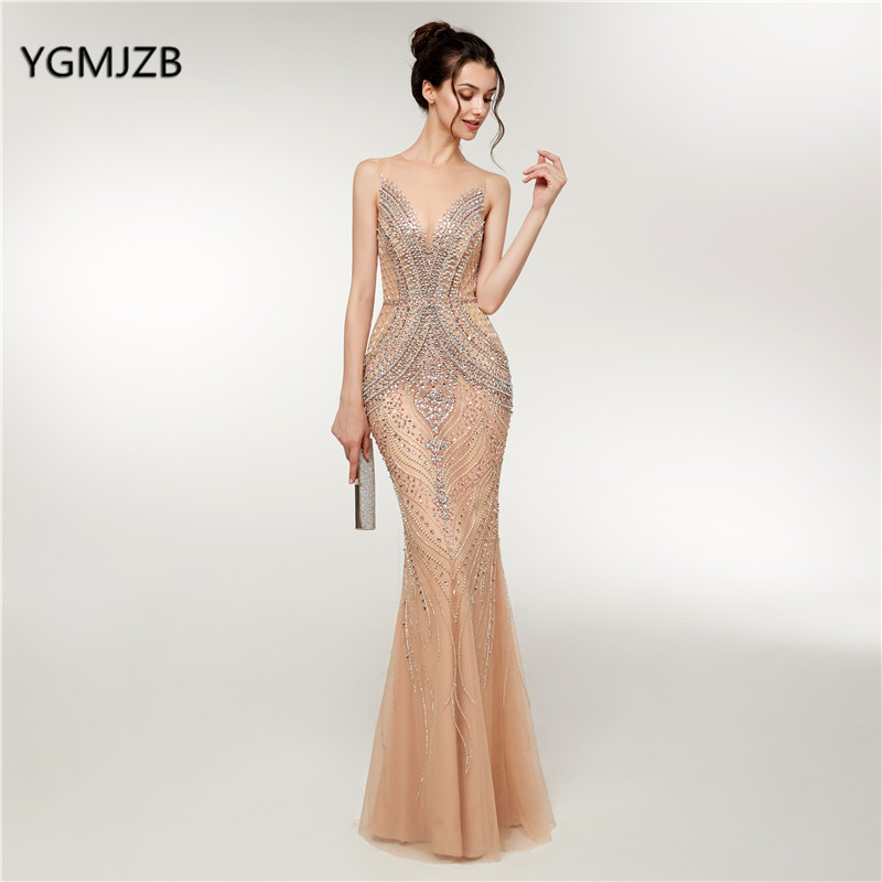 Luxury Mermaid   Evening     Dresses   Long 2018 New Heavy Crystals Beaded Arabic Elegant Woman Formal Party Gowns Prom Robe De Soiree