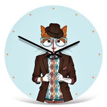 Modern Minimalist Acrylic Wall Clocks European Round Cartoon Cat Dog Raccoon Print Wall Clock Home Decor For Bedroom Living Roo