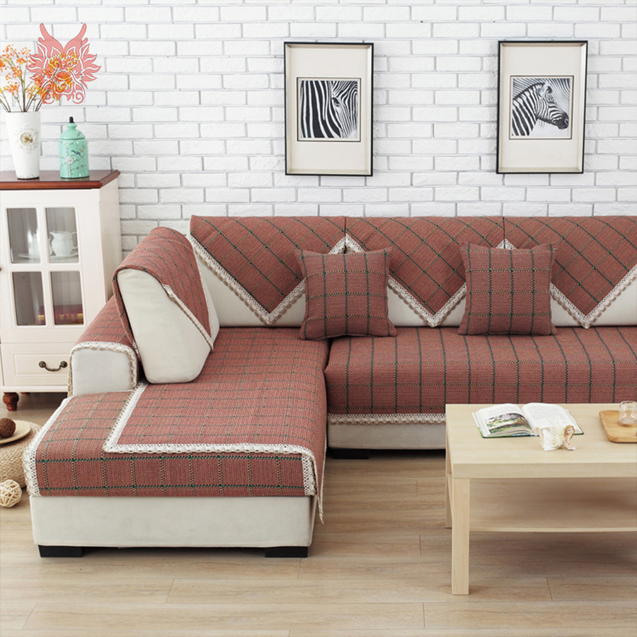 Modern brown plaid sofa cover lace decor sectional slipcovers canape geometric couch chair furniture covers capa de sofa SP3578