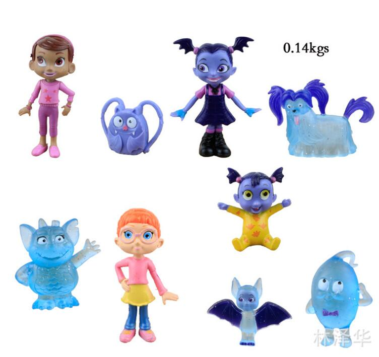 9pcs/lot Junior Vampirina The Vamp Batwoman Girl Action Toy Figure Doll For Kids Gifts Anime Cartoon the girl with all the gifts