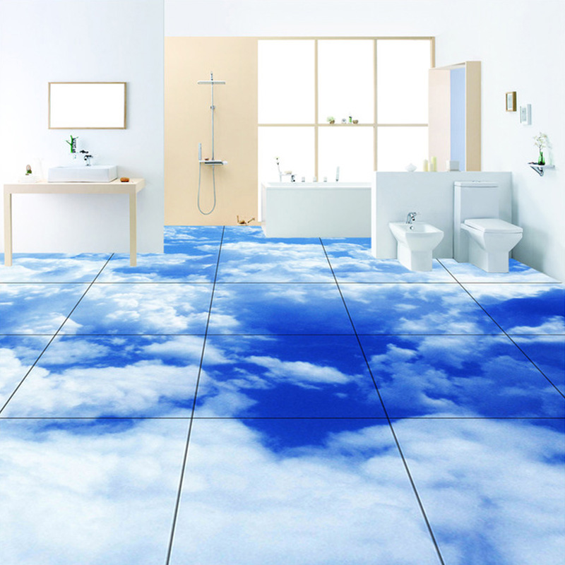 Blue Sky And White Clouds Wall Mural Home Decoration Modern Bathroom Kitchen Floor Backdrop Custom PVC Waterproof Wallpapers stylish blue sky and white cloud pattern removeable 3d wall sticker home decoration