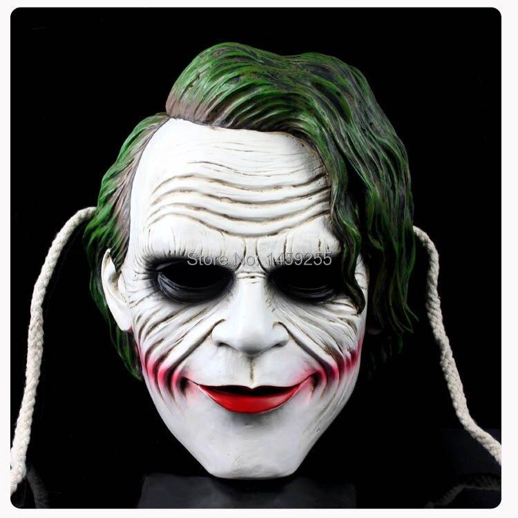 Masque de Joker Batman Costume de Clown chevalier foncé film Cosplay masques de résine de mascarade de fête adulte pour Halloween