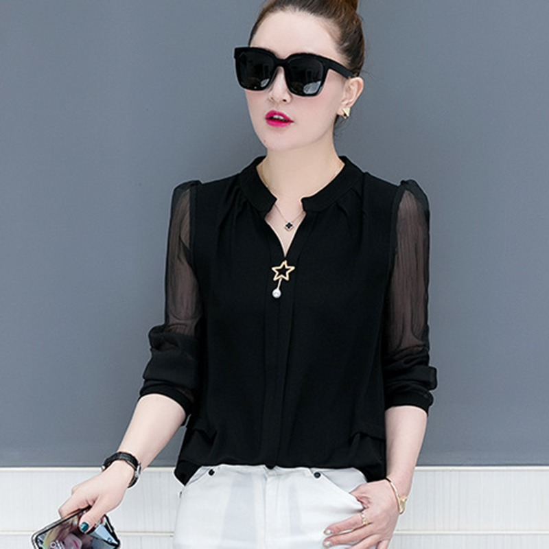 <font><b>2018</b></font> New Autumn Office <font><b>Lady</b></font> shirts Women Long Sleeve Chiffon Shirt Solid Color <font><b>Sexy</b></font> V Neck Blouse Shirts Tops <font><b>star</b></font> with pearl image