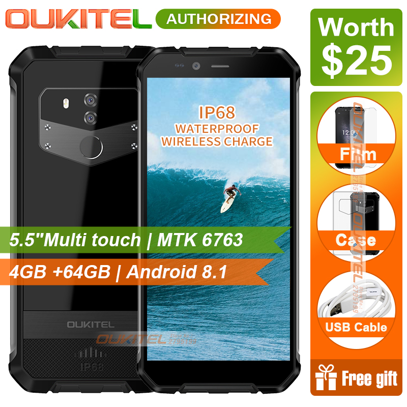 OUKITEL WP1 5.5 inch multi touch HD+Mobie phone MTK6763 4GB RAM 64GB ROM Android 8.1 IP68 Waterproof Smart  Phone 5000mAh-in Cellphones from Cellphones & Telecommunications on Aliexpress.com   Alibaba Group