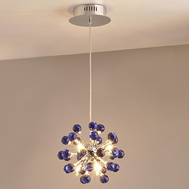 Modern Crystal Pendant light Lamp with 6 Lights in Bule Crystals , Lustres e Pendentes ,Lustre De Cristal luminarias led modern crystal pendent lights lamp lustres e pendentes luz lustre de cristal