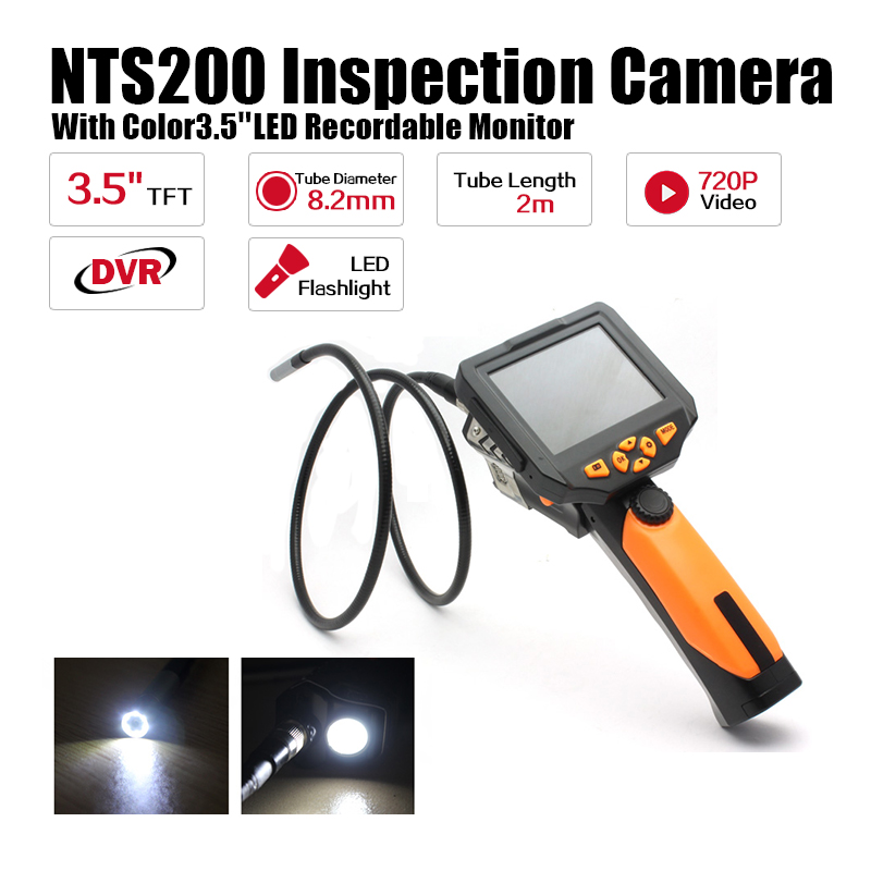 Eyoyo NTS200 Endoscope Inspection Camera with 3.5 Inch LCD Monitor 8.2mm Diameter 2 Meters Tube Borescope Zoom Rotate Flip