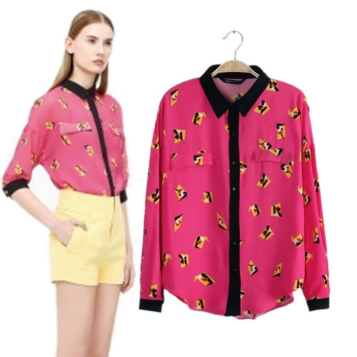New  Print Geometric Vintage Shirt Tops  Fashion Blouse Shirts  Bright WF-4528 Free Shipping