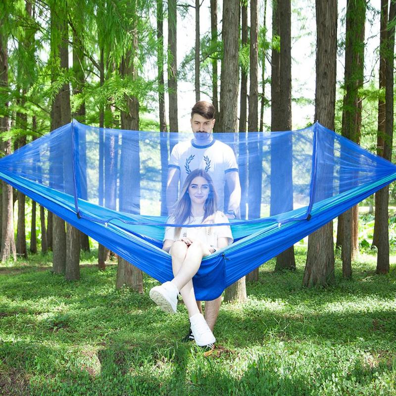 Outdoor Garden Parachute Cloth Anti-mosquito Hammock Automatically Open Hanging Bed Hunting Sleeping Swing 1-2 Person(China)