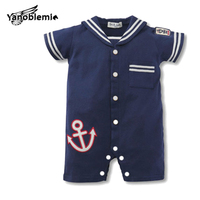 Baby Boys Girls Rompers Infant Short Sleeve One Pieces Navy Suit Modeling Pure Cotton Bodysuits Baby