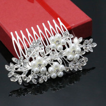 Trendy Hairwear Women Accessories Bridal Hair Jewelries Crystal Clear Rhinestone Flower Alloy Wedding Hair Tuck Comb 88x55mm