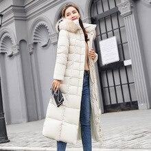 X-ロング女性のジャケットのコートスリム暖かい冬生き抜く 2019 ファッション冬のジャケットの女性ビッグ毛皮付き厚い 新ダウンパーカー