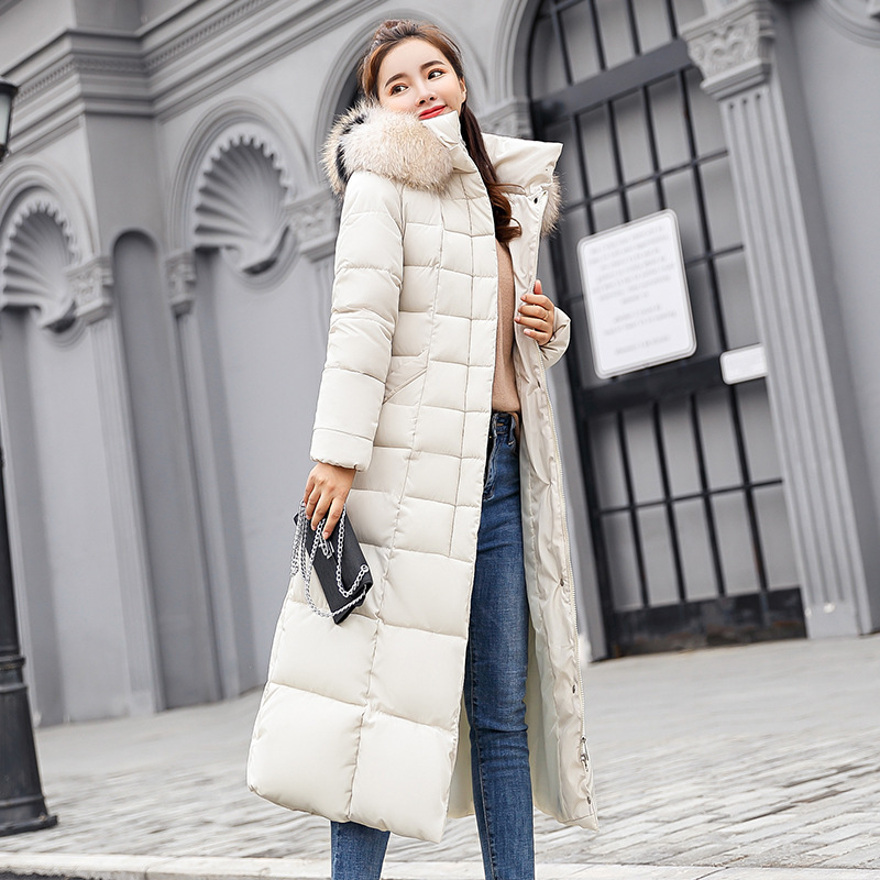 Fashion Winter Jacket Women Big Fur Belt Hooded Thick 2019 New Down   Parkas   X-Long Female Jacket Coat Slim Warm Winter Outwear