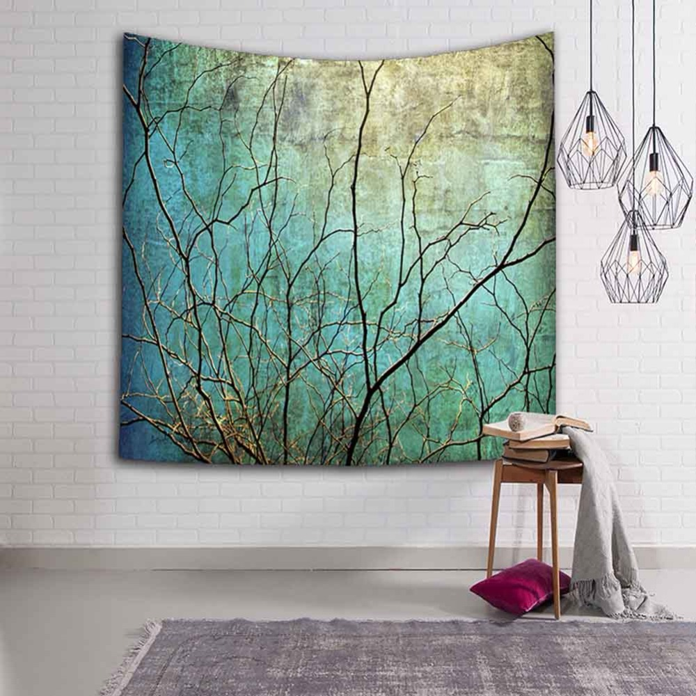 Tree Branches Tapestry Wall Hanging Plant Shabby Chic Home Decoration Beach Blanket Big 200cm Polyester Forest Style Decor