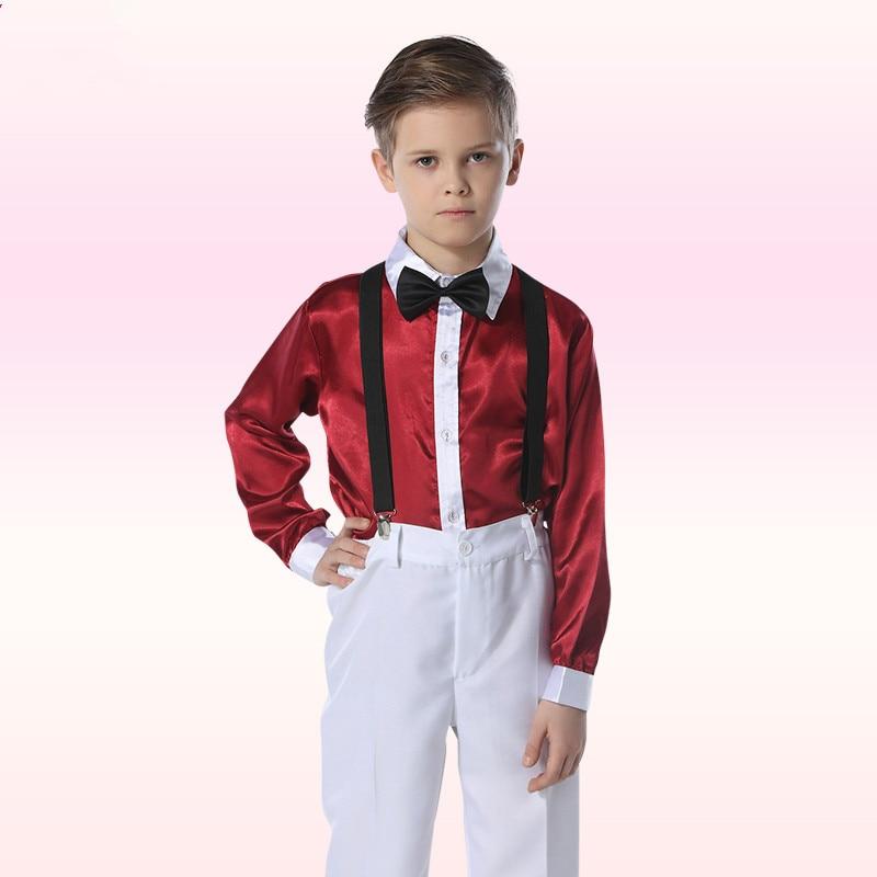 Holy Christening Children Modern Dance Costume Pleuche Elegant Girls Dresses Fashion Vest/straps Boys Suit
