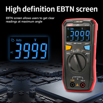 UNI T UT123 Digital Multimeter Tester Auto Range Mini Pocket Temperature Meter AC DC Voltmeter Capacitance Frequency Ohm Meter dc ac smart full auto range digital multimeter ncv frequency temperature capacitance tester pm8247s pm8248s