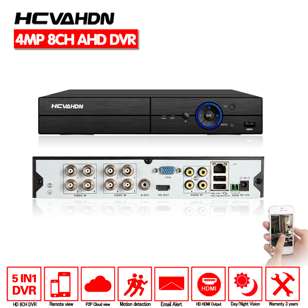 HCVAHDN 8CH AHD DVR 4MP Hybrid 8*4MP 5 In 1 AHD TVI CVI CVBS IP Security CCTV DVR H.264+ Encoding Onvif For AHD CCTV Camera цена