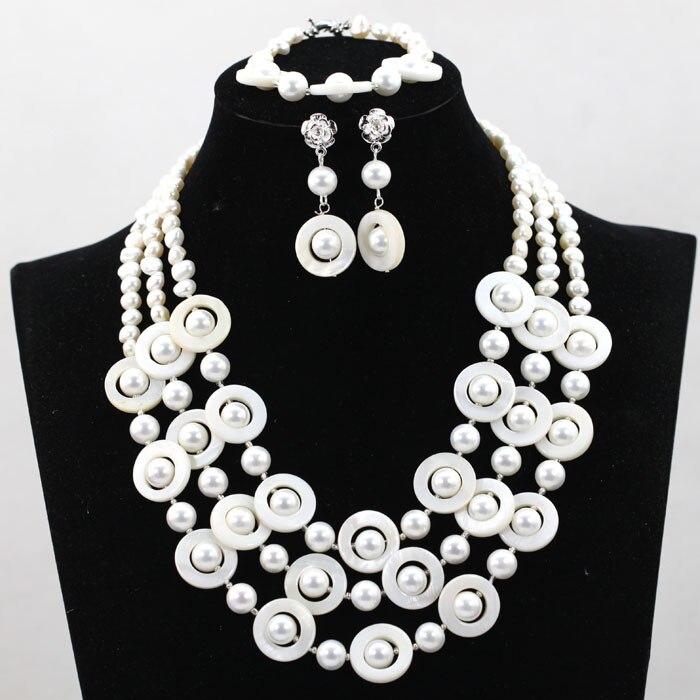 À la mode Shell perle perles ensemble de bijoux de fête de mariage femme ensemble de bijoux à la main Costume ensemble de bijoux livraison gratuite SP029