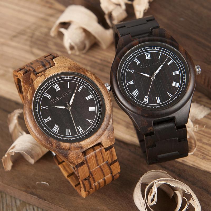 BOBO BIRD WO18O19 Men Ebony Zebra Wooden Watches 15