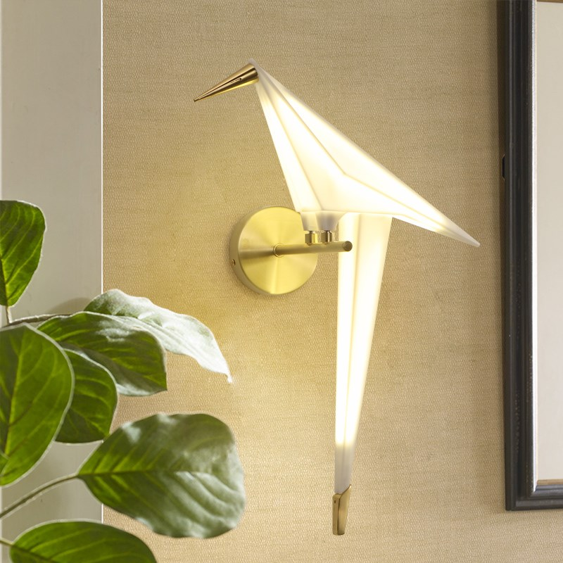 Nordic aisle bedside wall lighting for home Creative design wall decoration lamp Paper crane Sconce Bird