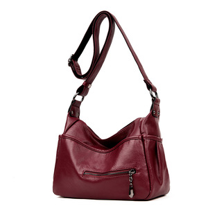 Image 2 - Soft Genuine Leather Women Lady Crossbody Purse Satchel Tote Shoulder Bag With Tassel Luxury Burgundy Handbag Fashion 2018 C1118