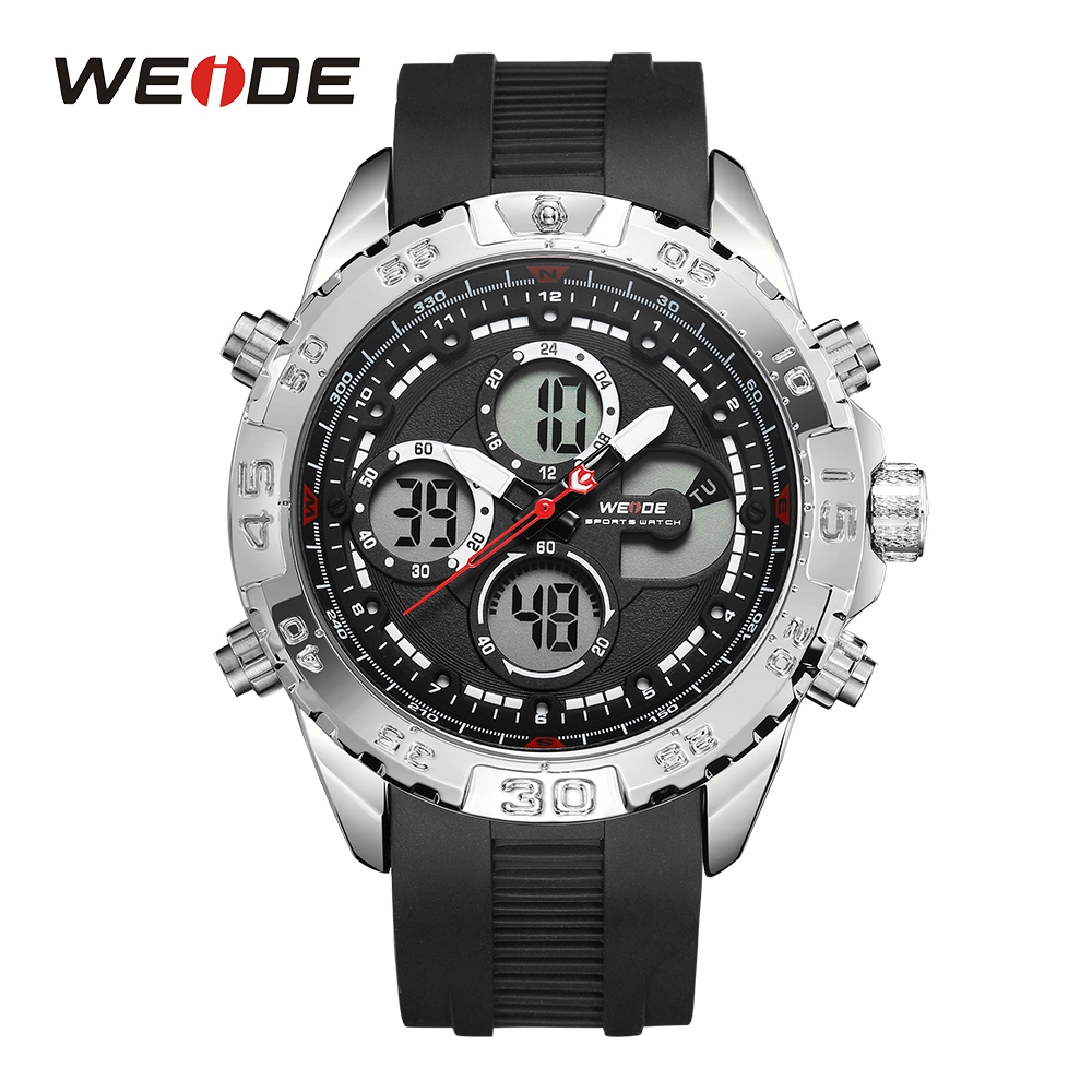 WEIDE Luxury Brand Outdoor Men's Watch Multiple Function Dual Display Quartz Chronograph Calendar Wristwatch Relogio Masculino brand weide fashion casual men watch black silicone strap 3atm waterproof dual display wristwatch relogio masculino sale items
